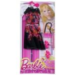 Vêtements pour poupée Barbie : Tenue de soirée : Robe noire fleurie