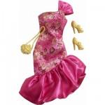 Vêtements pour poupée Barbie Fashionistas : Robe de soirée rose et or
