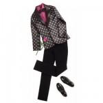 Vêtements pour poupée Ken : Costume noir à pois blancs avec accessoires