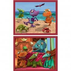 Puzzle 2 x 25 pièces : Dino Train : A la plage
