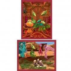 Puzzle 2 x 25 pièces : Dino Train : Eclosion d'oeufs