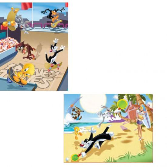Puzzle 2 x 25 pièces : Looney Tunes, la rampe de skate et partie de raquettes - MB-39704-39708