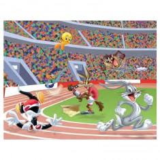 Puzzle 45 pièces : Looney Tunes, la course