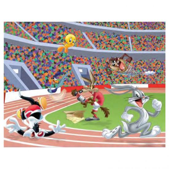 Puzzle 45 pièces : Looney Tunes, la course - MB-39709-39712