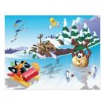 Puzzle 45 pièces : Looney Tunes, sur des patins