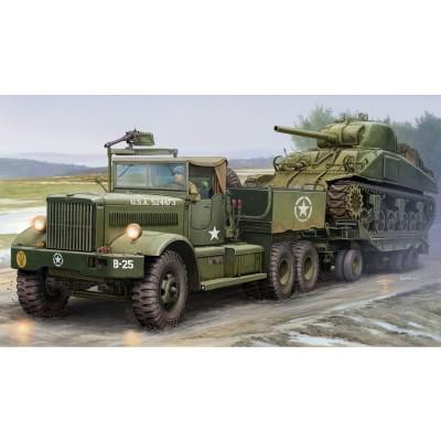 Maquette Véhicule Militaire : Tracteur et porte char US M19 - Merit-63502