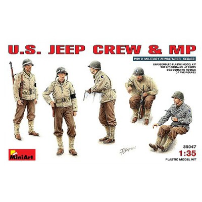 Figurines 2ème Guerre Mondiale : Conducteurs de jeep US et police militaire - MiniArt-35047