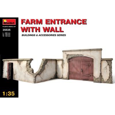 Maquette Ruines de guerre: Entrée de ferme avec mur d'enceinte - MiniArt-35535