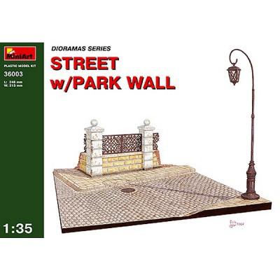 Diorama 1/35 : Rue en ruine avec mur de parc public - MiniArt-36003