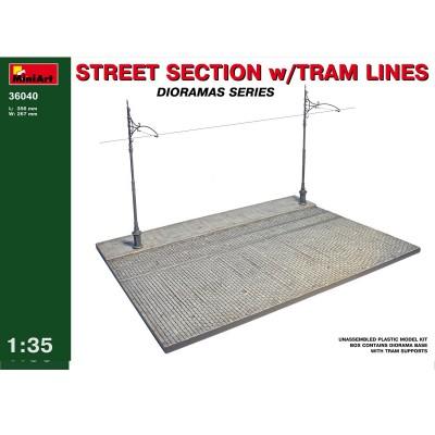 Diorama 1/35 : Section de rue avec ligne de tramway - MiniArt-36040