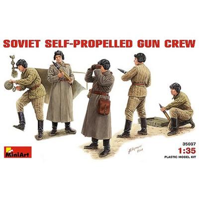 Figurines 2ème Guerre Mondiale : Equipage soviétique de canon automoteur (type SU-76) - MiniArt-35037