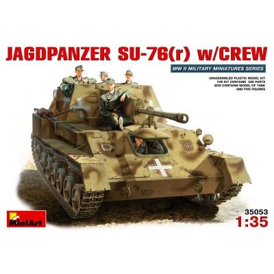 Maquette Char: JagdPanzer SU-76r avec figurines artilleurs - MiniArt-35053