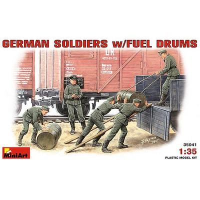 Figurines 2ème Guerre Mondiale : Soldats allemands au déchargement de fûts - MiniArt-35041