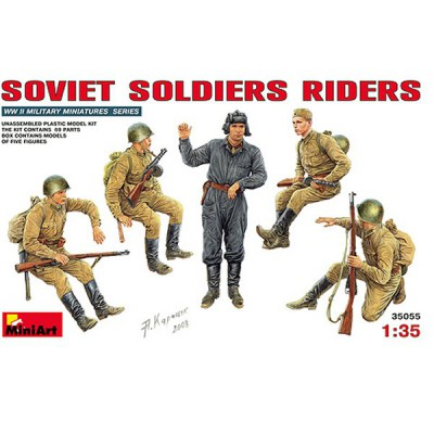 Figurines 2ème Guerre Mondiale : Soldats soviétiques assis sur char 1944-1945 - MiniArt-35055