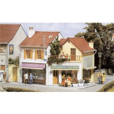 Modélisme HO : Le village français : Coiffeur-Fleuriste - MKD-MK617