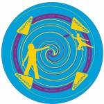 Frisbee géant en tissu bleu