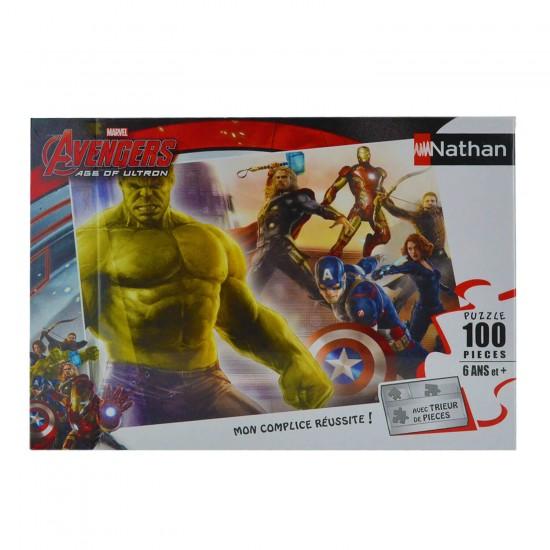 Puzzle 100 pièces : Hulk et les Avengers - Nathan-Ravensburger-86730