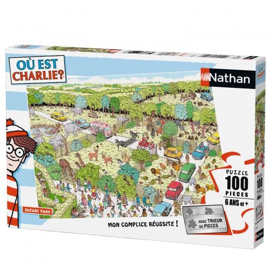 Puzzle 100 pièces : Où est Charlie ? Safari parc - Nathan-Ravensburger-86725
