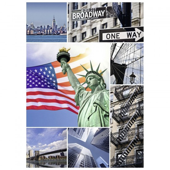 Puzzle 1000 pièces : New York Collage - Nathan-Ravensburger-87771