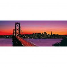 Puzzle 1000 pièces panoramique : Bay Bridge au crépuscule