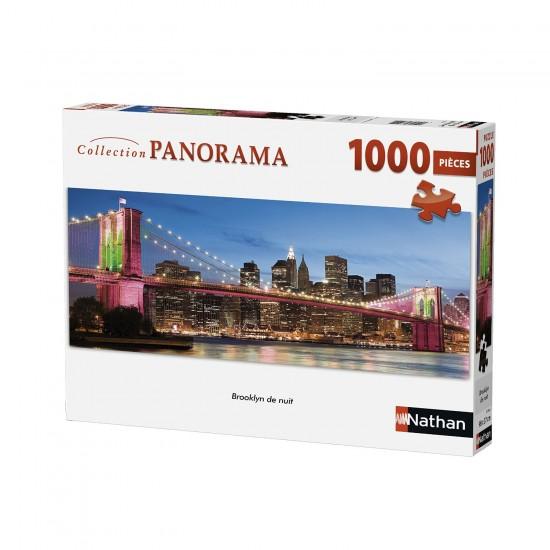 Puzzle 1000 pièces panoramique : Brooklyn de nuit - Nathan-Ravensburger-87596