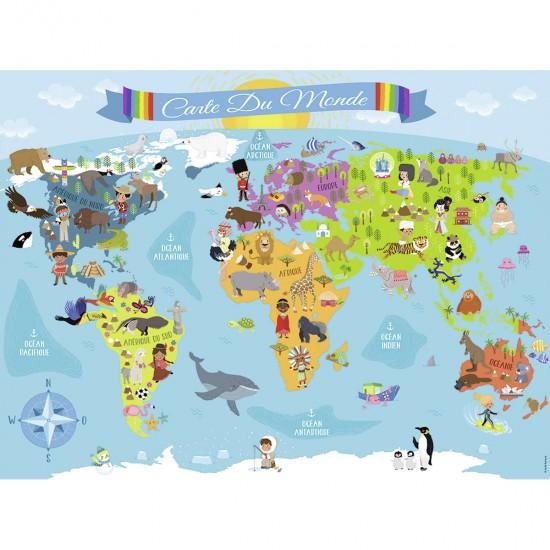 Puzzle 150 pièces : Carte du monde - Nathan-Ravensburger-86806
