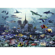 Puzzle 1500 pièces : Notre-Dame de Paris sous l'eau