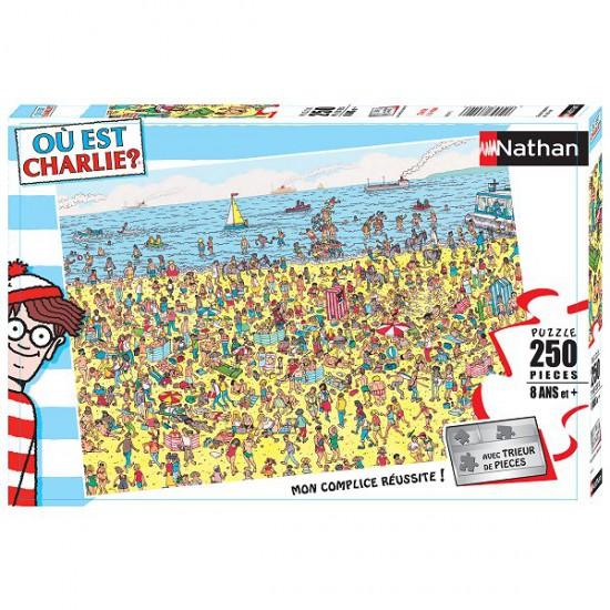 Puzzle 250 pièces - Où est Charlie ? : Charlie à la plage - Nathan-Ravensburger-86947