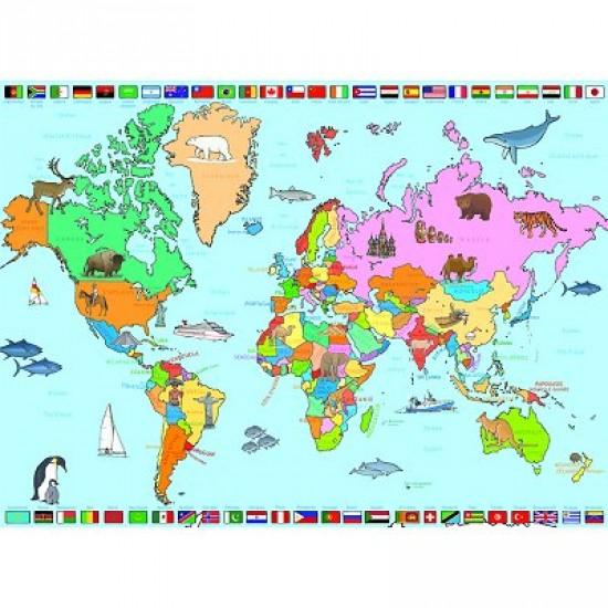 Puzzle 250 pièces - Carte du Monde - Nathan-Ravensburger-86935