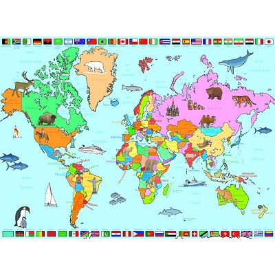 puzzle 250 pi ces carte du monde puzzle nathan rue des puzzles. Black Bedroom Furniture Sets. Home Design Ideas