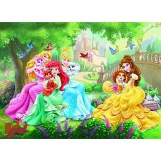 Puzzle 45 pièces : Princesses Disney : Pause tendresse