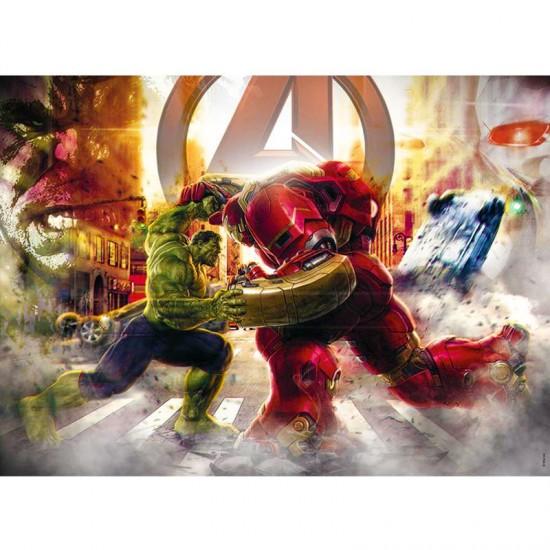 Puzzle 60 pièces : The Avengers : Hulk contre Hulkbuster - Nathan-Ravensburger-86639