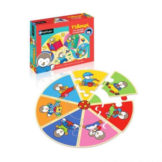 Puzzle 8 pièces : 2 puzzles : La journée de T'choupi - Nathan-31022
