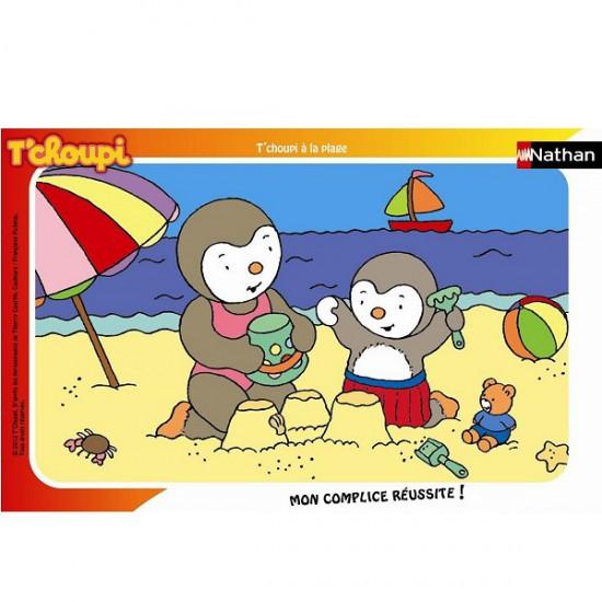Puzzle cadre - 15 pièces - T'Choupi : T'Choupi à la plage - Nathan-Ravensburger-86096