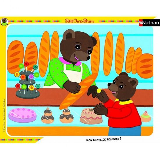 Puzzle cadre 35 pièces : Petit Ours Brun à la boulangerie - Nathan-Ravensburger-86105