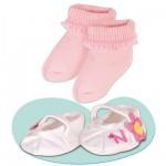 Vêtement pour Bébé Nenuco 42 cm : Chaussures blanches à fleurs et chaussettes roses