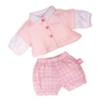 Vêtement pour Bébé Nenuco 42 cm : Short rose à carreaux et chemisier rose et blanc - Nenuco-700008260-3