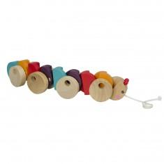 Chenille multicolore en bois à tirer