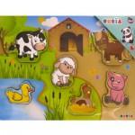 Puzzle 6 pièces en bois : Les animaux de la ferme