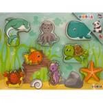 Puzzle 8 pièces en bois : Les animaux de la mer