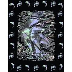Kit carte à gratter Scraper nacré avec bordures : Flippy le dauphin