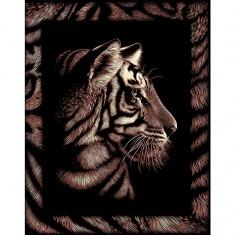 Kit carte à gratter Scraper doré avec bordures : Le tigre