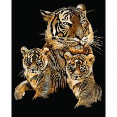 Kit carte à gratter Scraper traditionnel cuivre : Le tigre et ses petits