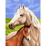 Peinture au numéro  Débutants : La jument et son poulain
