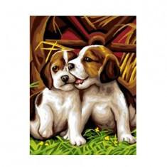 Peinture au numéro  Débutants : Les deux chiots