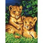 Peinture au numéro  Débutants : Les deux lionceaux
