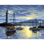 Peinture au numéro Initiés : Coucher de soleil sur le phare