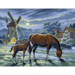 Peinture au numéro Initiés : Moulin et chevaux au crépuscule
