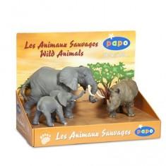 Figurine Animaux sauvages : Coffret : Eléphant, éléphanteau et rhinocéros noir