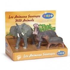 Figurine Animaux sauvages : Coffret : Eléphant, Hippopotames